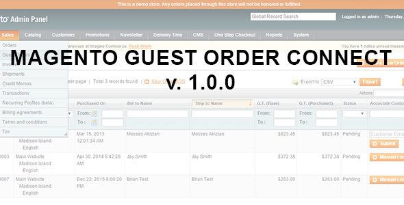Magento Guest Order Connect