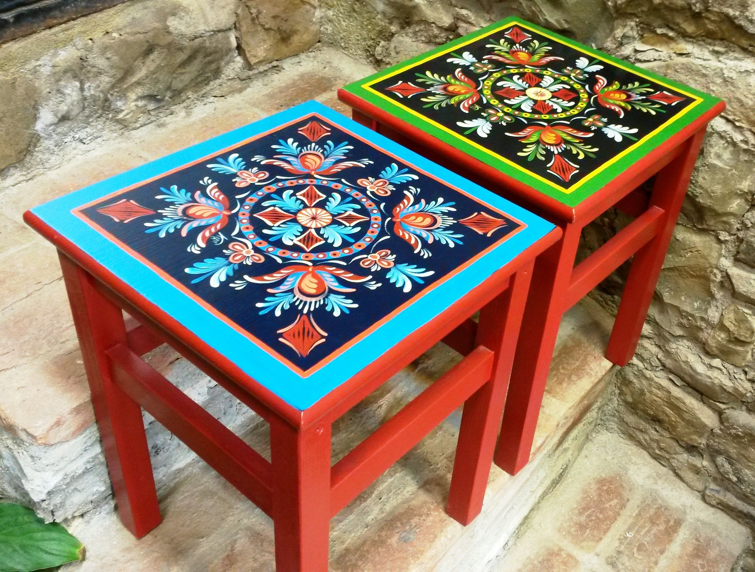 Folk Art Painted Top Perfect For My Ikea Wood Stool Funky Painted Furniture Art Furniture Painted Furniture