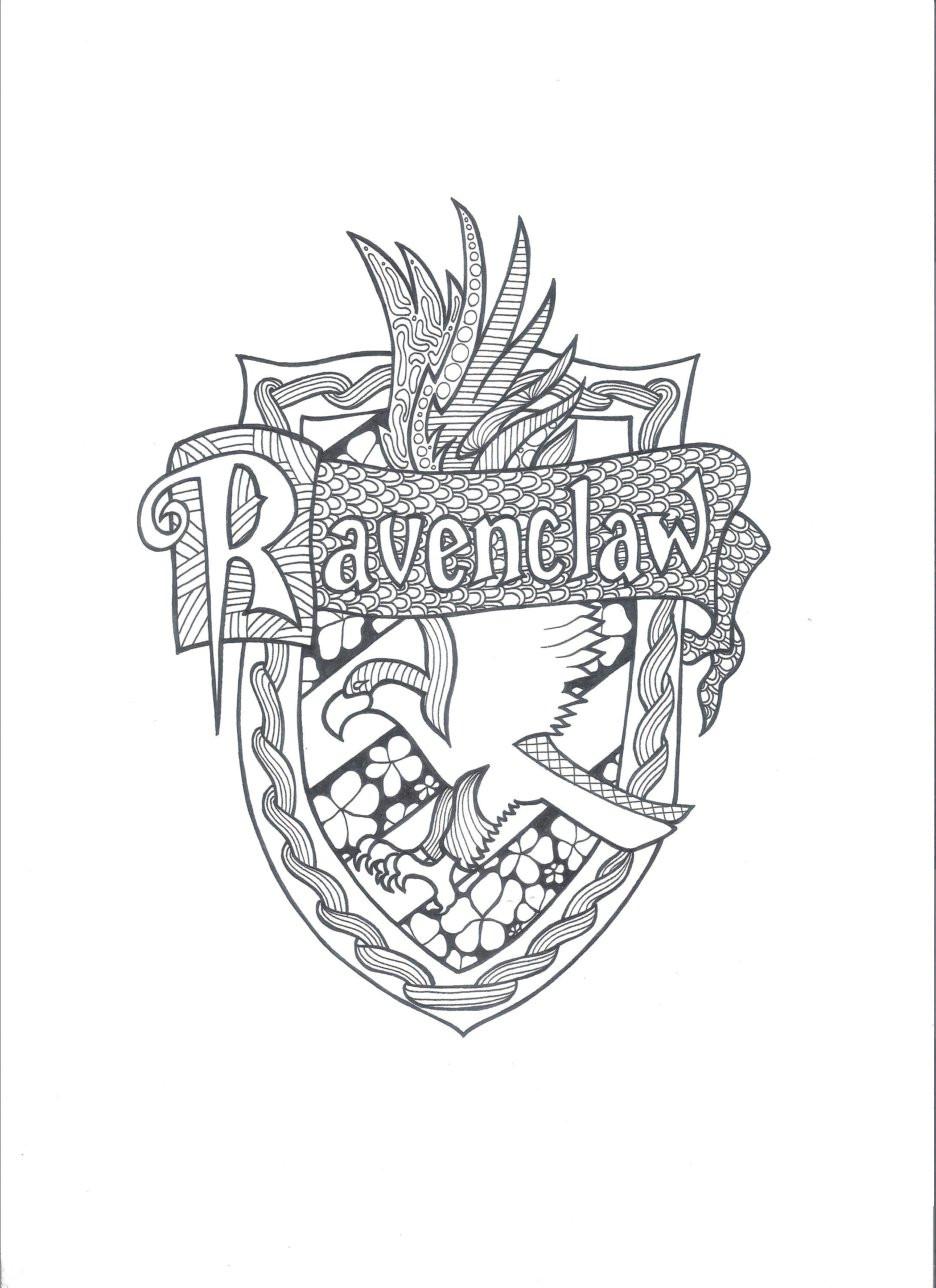Harry Potter Ravenclaw Pdf Coloring Page Striking Crest Lively