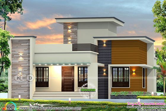 1861 Square Feet 2 Bedroom Flat Roof Home Plan House Roof Design Kerala House Design Flat Roof Design