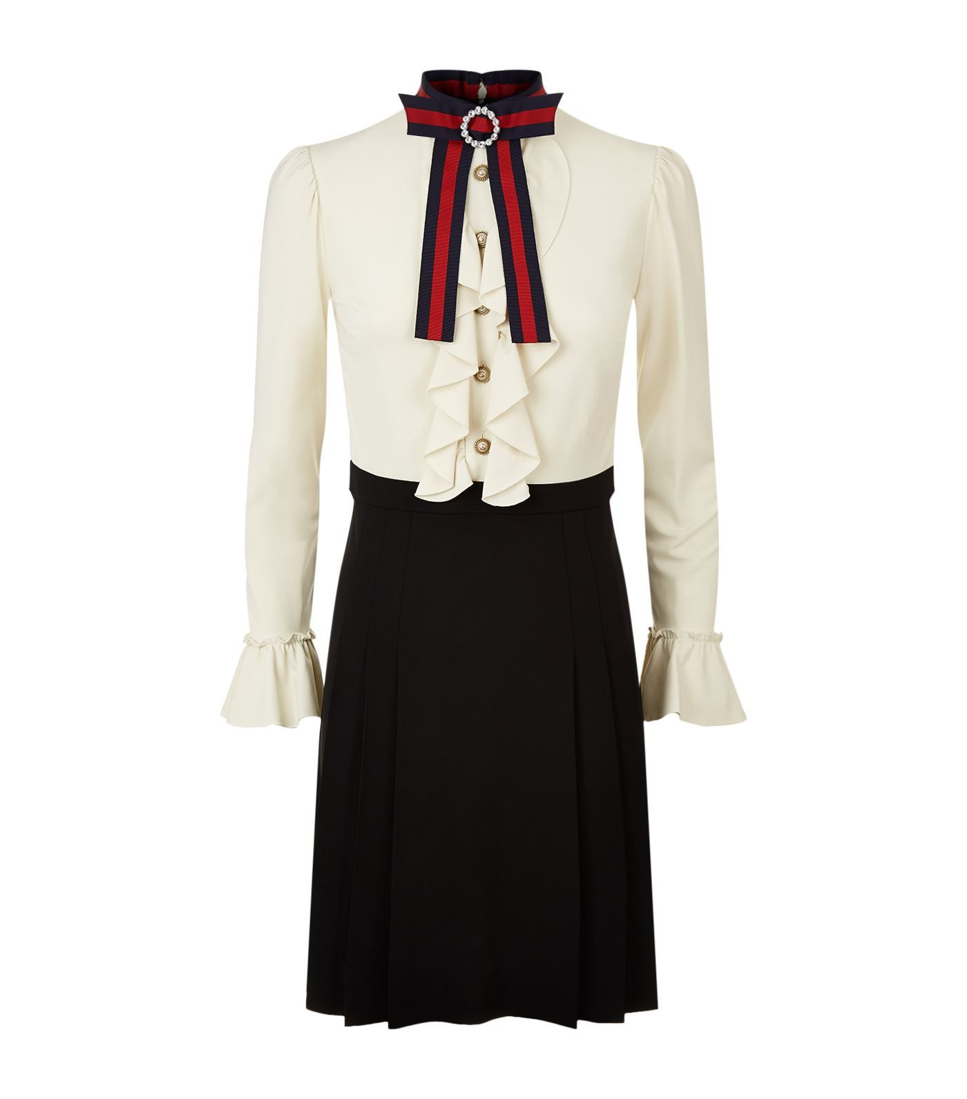 Gucci Web Bow Ruffled Dress | Harrods.com | Fashion ...