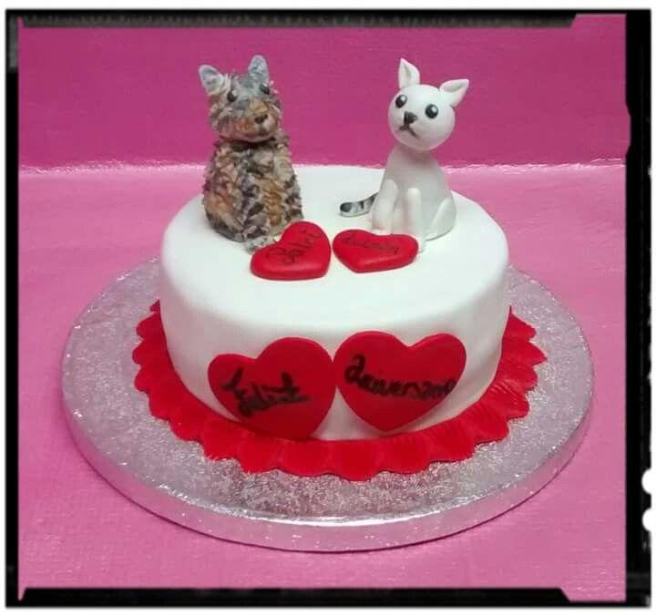 Tarta aniversario gatos   Bodas, Aniversarios y San Valentín ...