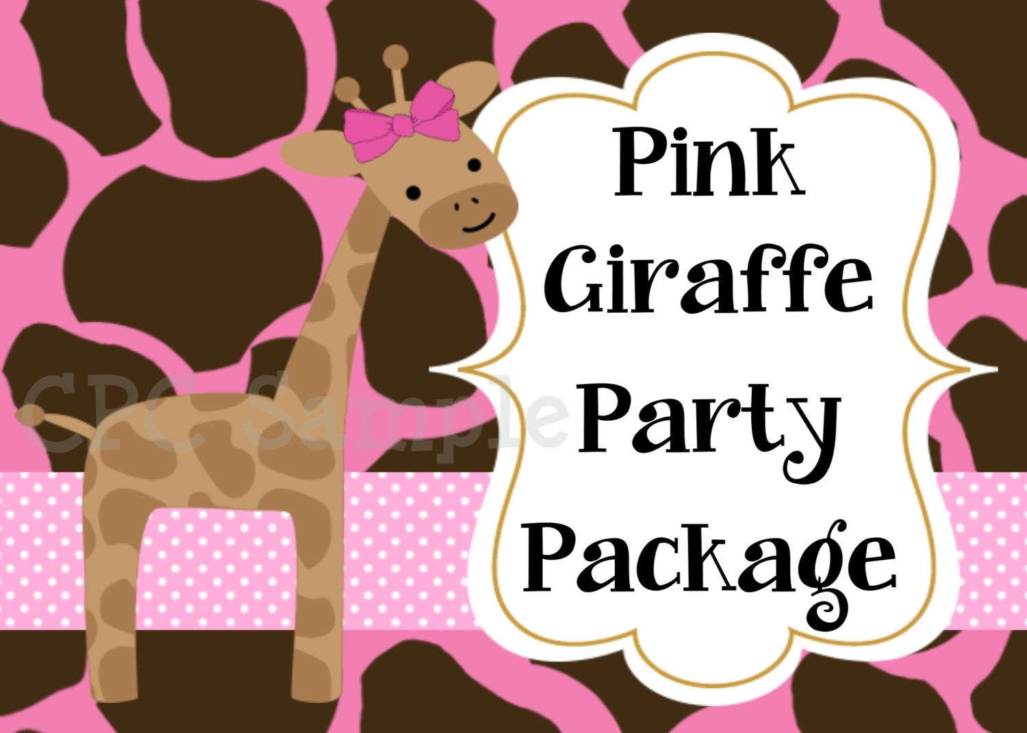 Pink Giraffe Invitation Birthday Party Package Includes ...