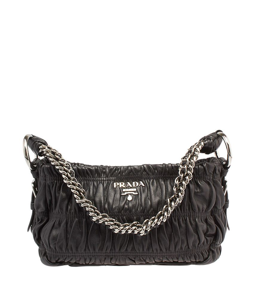 7844cc895918 Prada Black Lambskin Leather Chain Shoulder Bag
