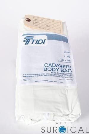 Tidi Products 950259 Vinyl Body Bag Curved Zipper White 36 X 90 10 Cs Body Bag Bags Body
