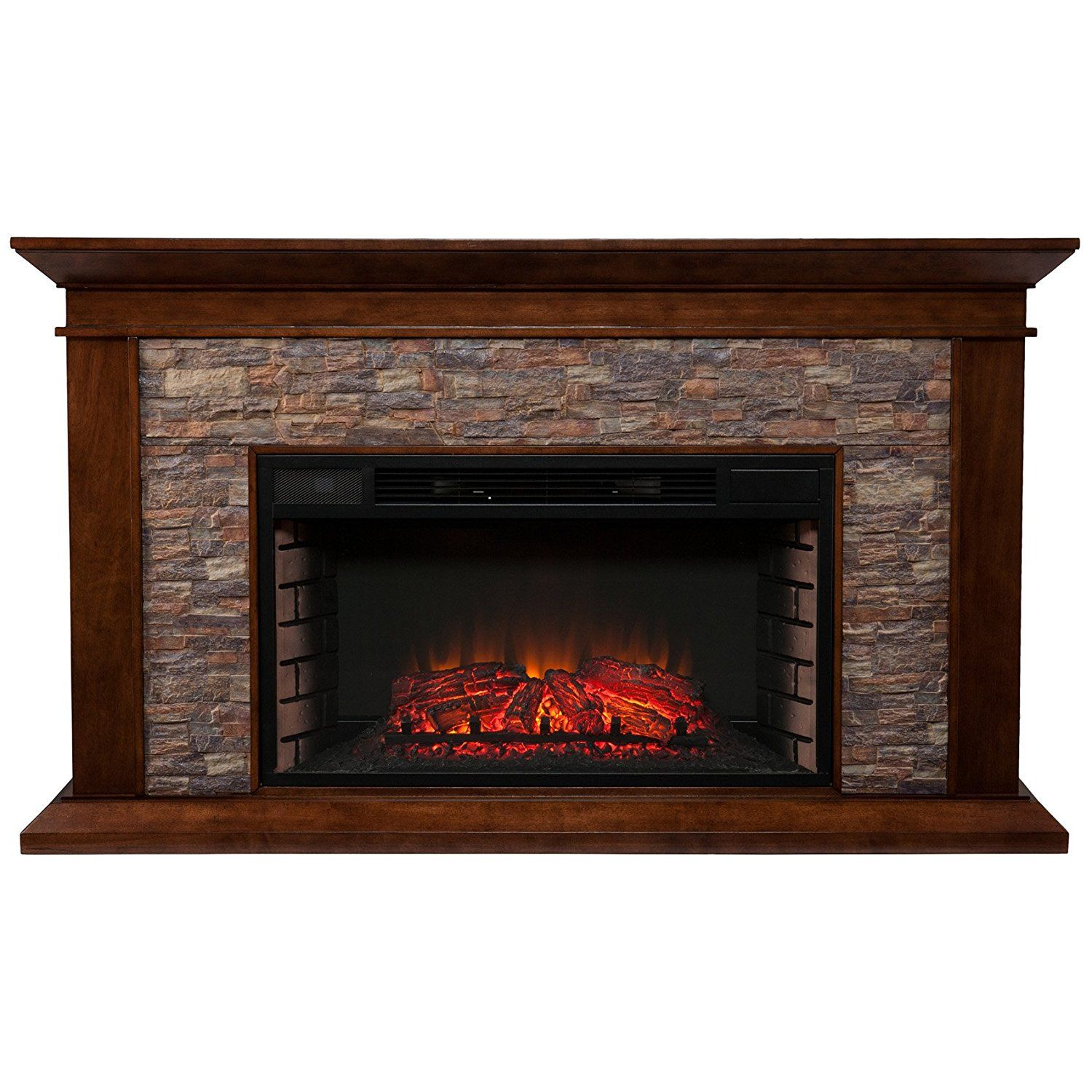 Southern Enterprises Canyon Heights Electric Fireplace Whiskey
