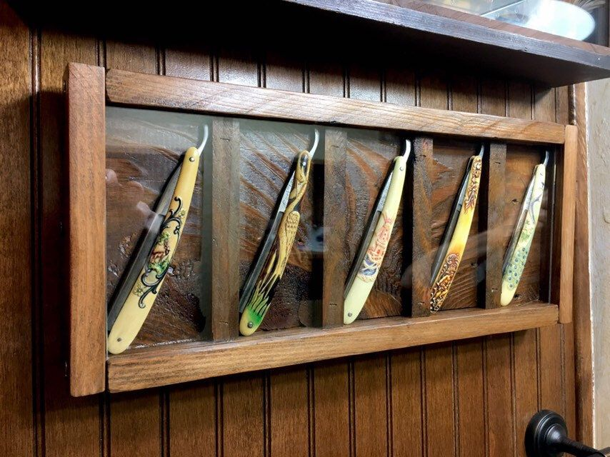 Antique straight razor collection display fancy ornate