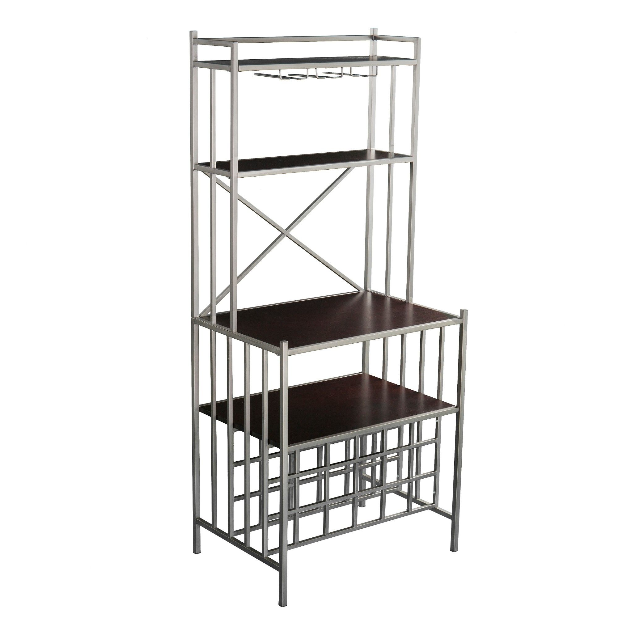 Lucinda Industrial Bakers Rack Espresso Brown Aiden Lane