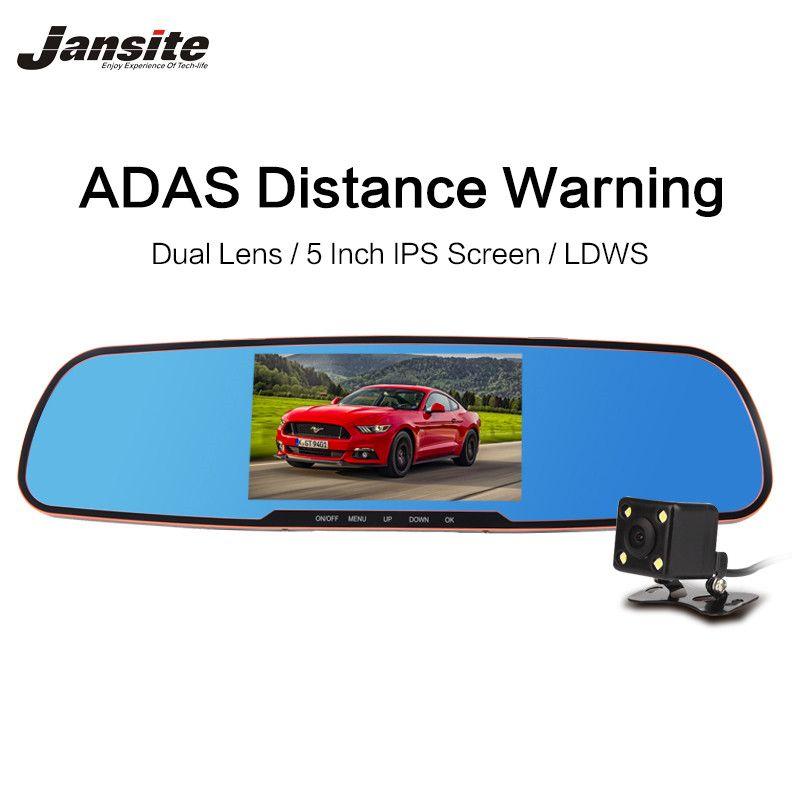 """2017 El Más Nuevo 5.0 """"Cámara del coche Espejo Retrovisor Dvr Con LDWS ADAS Detector Digital Grabador de Vídeo Dual de la Lente dvr FHD1080P coche Dashcam"""