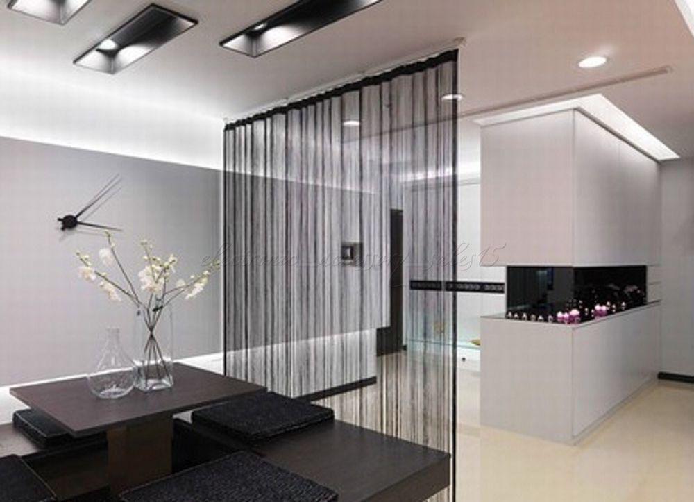 2 PCS String Curtain 2m x 1m Black Fringe Panel Room Divider Partation Door AU