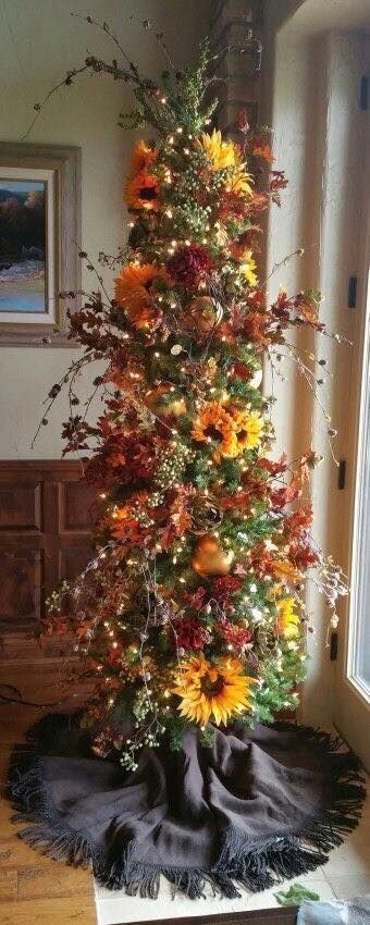 Festive fall decorating tree ideas - Debbiedoos
