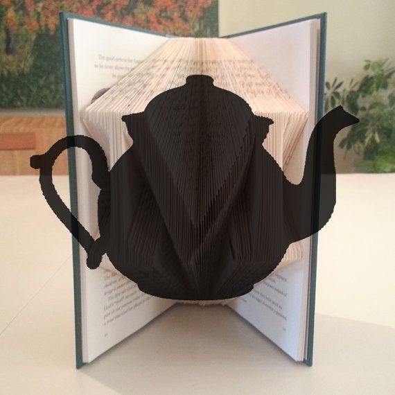 folded book pattern teapot by diymarta book folding. Black Bedroom Furniture Sets. Home Design Ideas