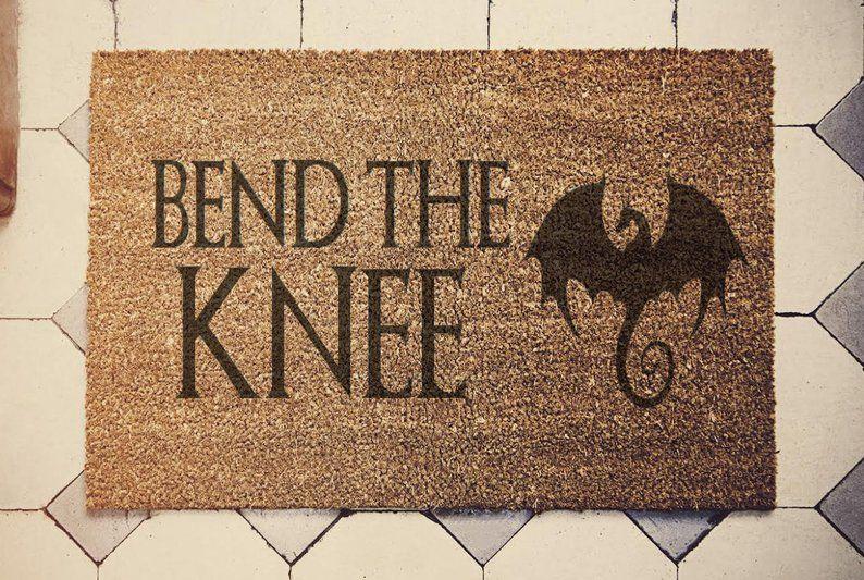 Game Of Thrones Inspired Doormat Coconut Bend The Knee Etsy Door Mat Funny Doormats Pottery Painting