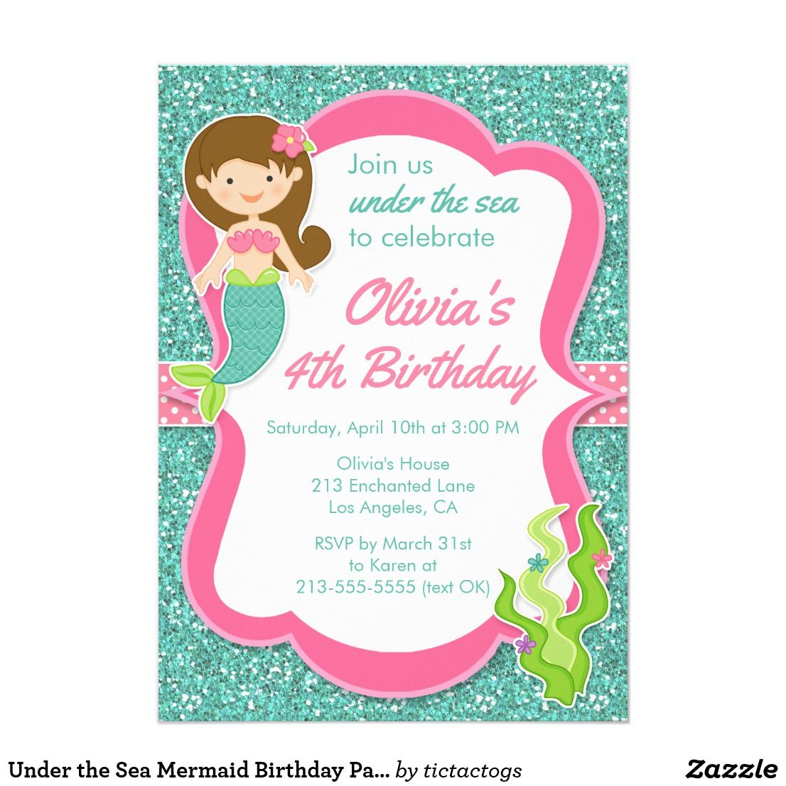 Under the Sea Mermaid Birthday Party Invitation | Girls Birthday ...