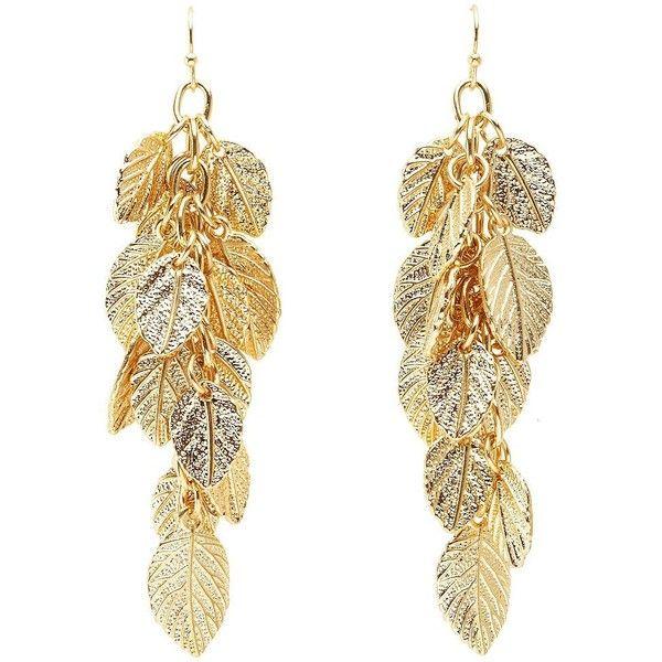 Charlotte Russe Dangling Golden Leaf Earrings ($6) ❤ liked on Polyvore featuring jewelry, earrings, gold, gold leaf charm, fish hook earrings, yellow gold charms, yellow gold earrings and yellow gold dangle earrings