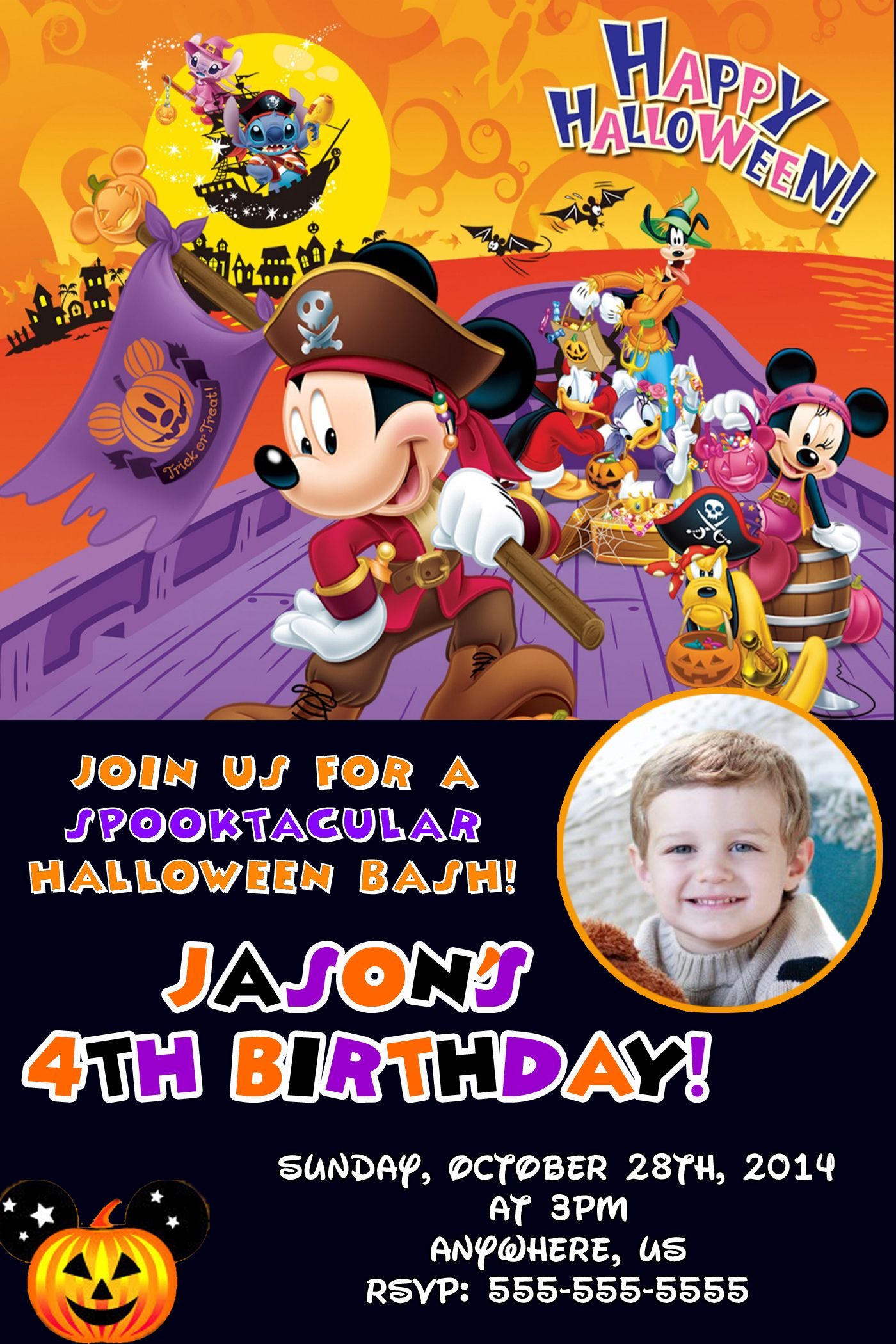 Disney Mickey Mouse Halloween Birthday Party Invitations 899