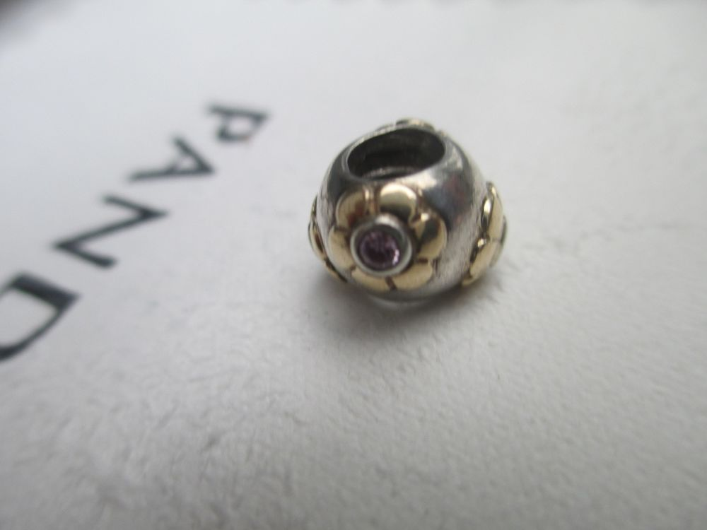 745c848cb Authentic Pandora RETIRED RAISED FLOWER PINK CZ 925 & 14k Gold ALE  790207PCZ #Pandora #European