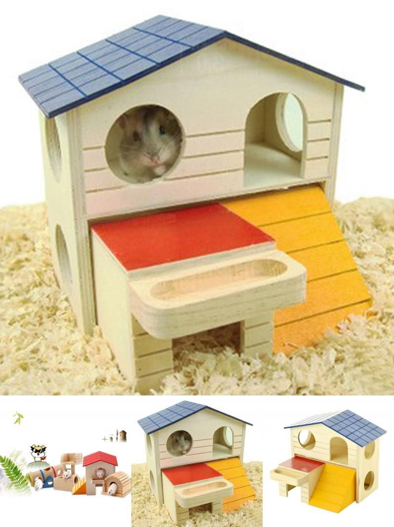 Visit To Buy Double Layer Room Wooden Hamster House Squirrel Play Sleeping Cage Nest For Small Animal Advertisement Hamster House Small Pets Hamster Care