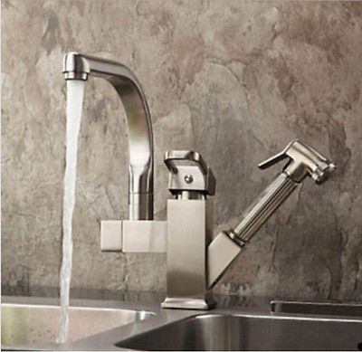 Brushed Single Handle Pull Out Kitchen Sink Faucet Vessel Mixer Tap With Spray
