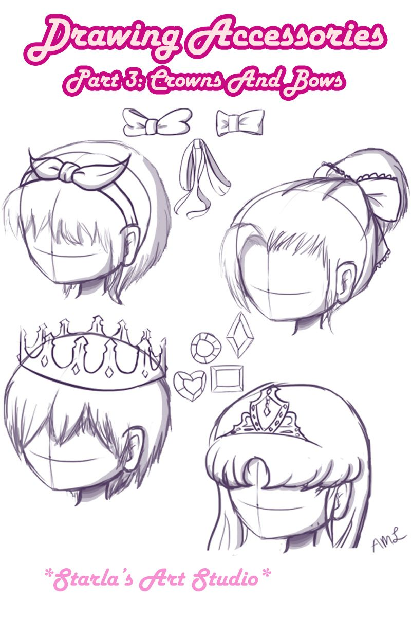 Crowns Bows Here Is A Reference Image On How To Draw 4 Types Of Bows And Crowns On A Head If You D Like T Drawing Tips Drawing Accessories Cartoon Drawings