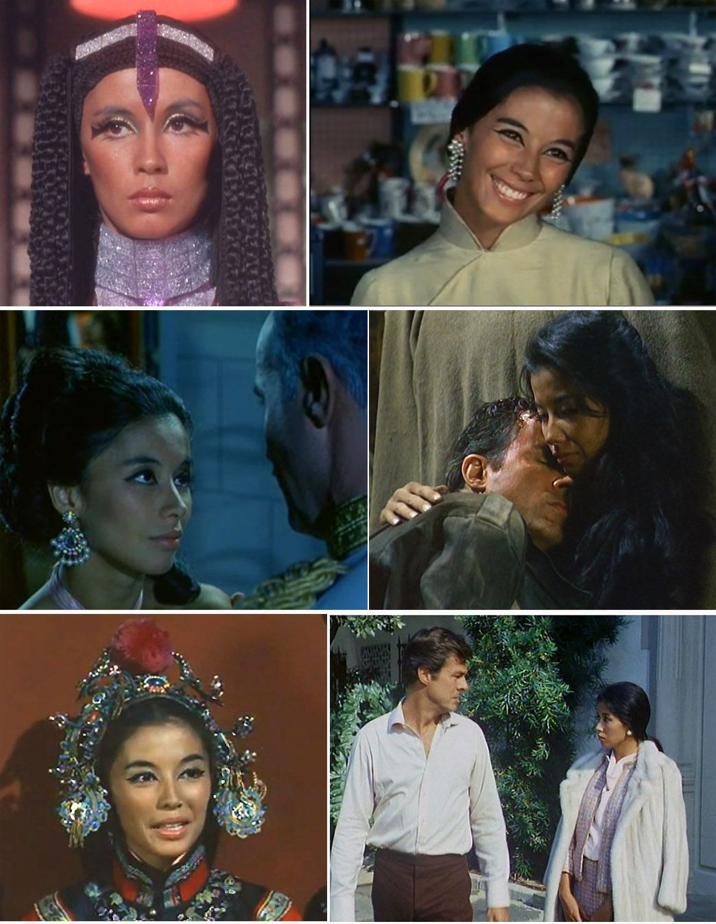 """France Nuyen as Elaan, from Star Trek S03E13, """"Elaan of Troyius,"""" and as Sada in """"Always Say Good-bye,"""" Sam Than McLean in """"The Tiger,"""" and """"Magic Mirror,"""" and as Empress in """"An American Empress."""" I Spy (Robert Culp, Bill Cosby - NBC TV, 1965-1968)"""