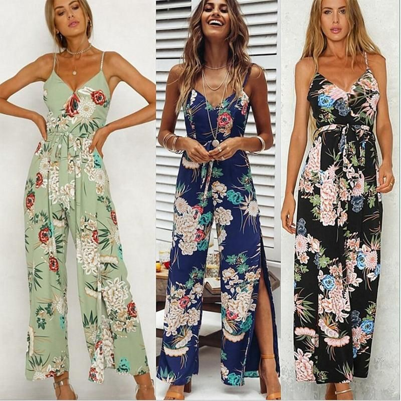 f2943a53e02 Mishenko Floral Women Backless Slit Jumpsuits Summer Spaghetti Strap Long  Jumpsuits Sexy Beach Wide Leg Pants Jumpsuit Overalls