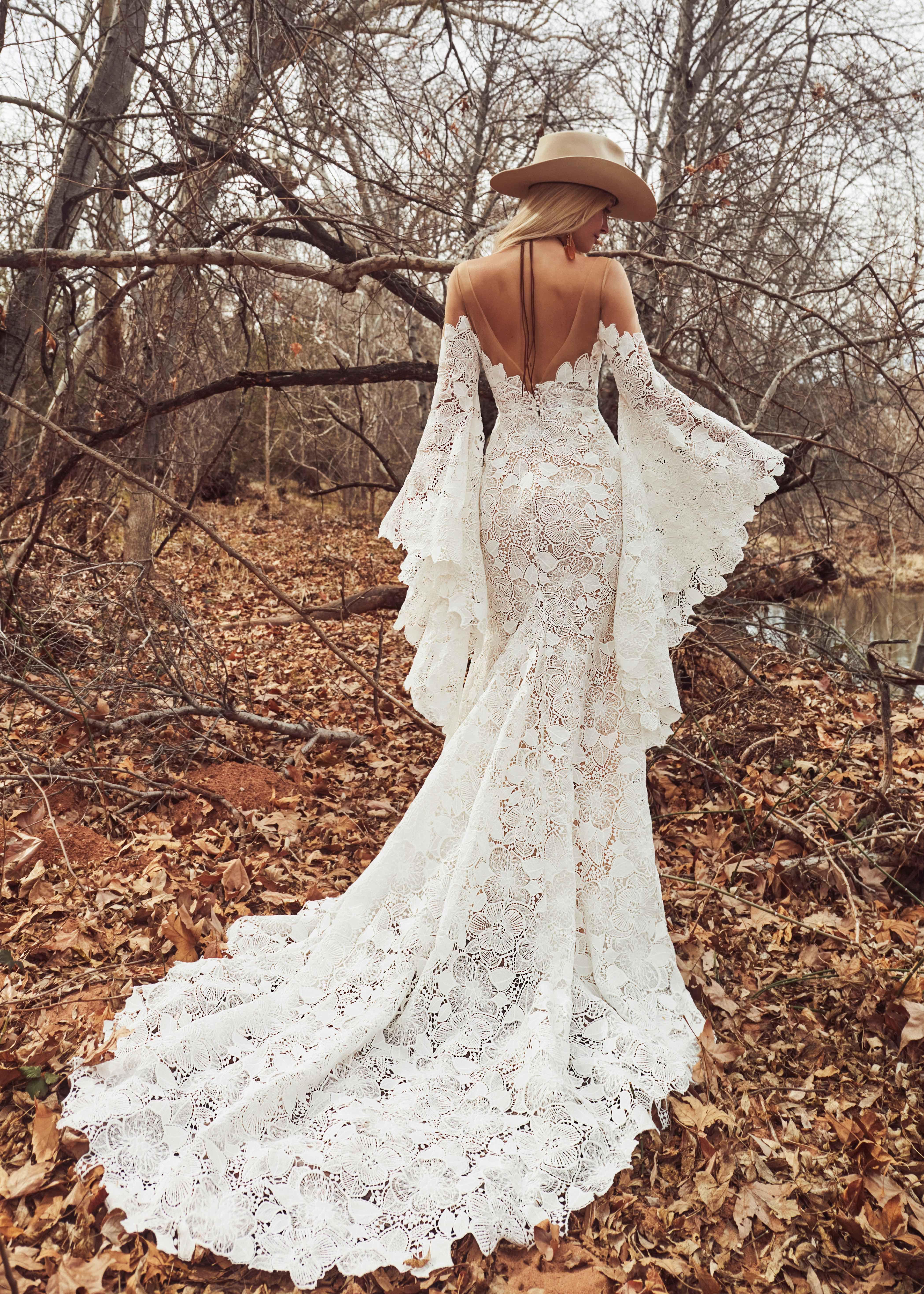 Stevie By La Perle Bell Sleeve Wedding Dress Boho Chic Wedding Dress Wedding Dress Long Sleeve