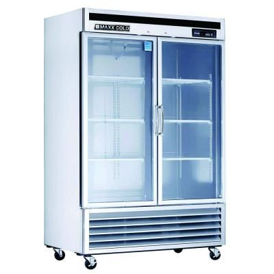 Maxx Cold 49 Cu Ft Double Glass Doors Commercial Refrigerator In