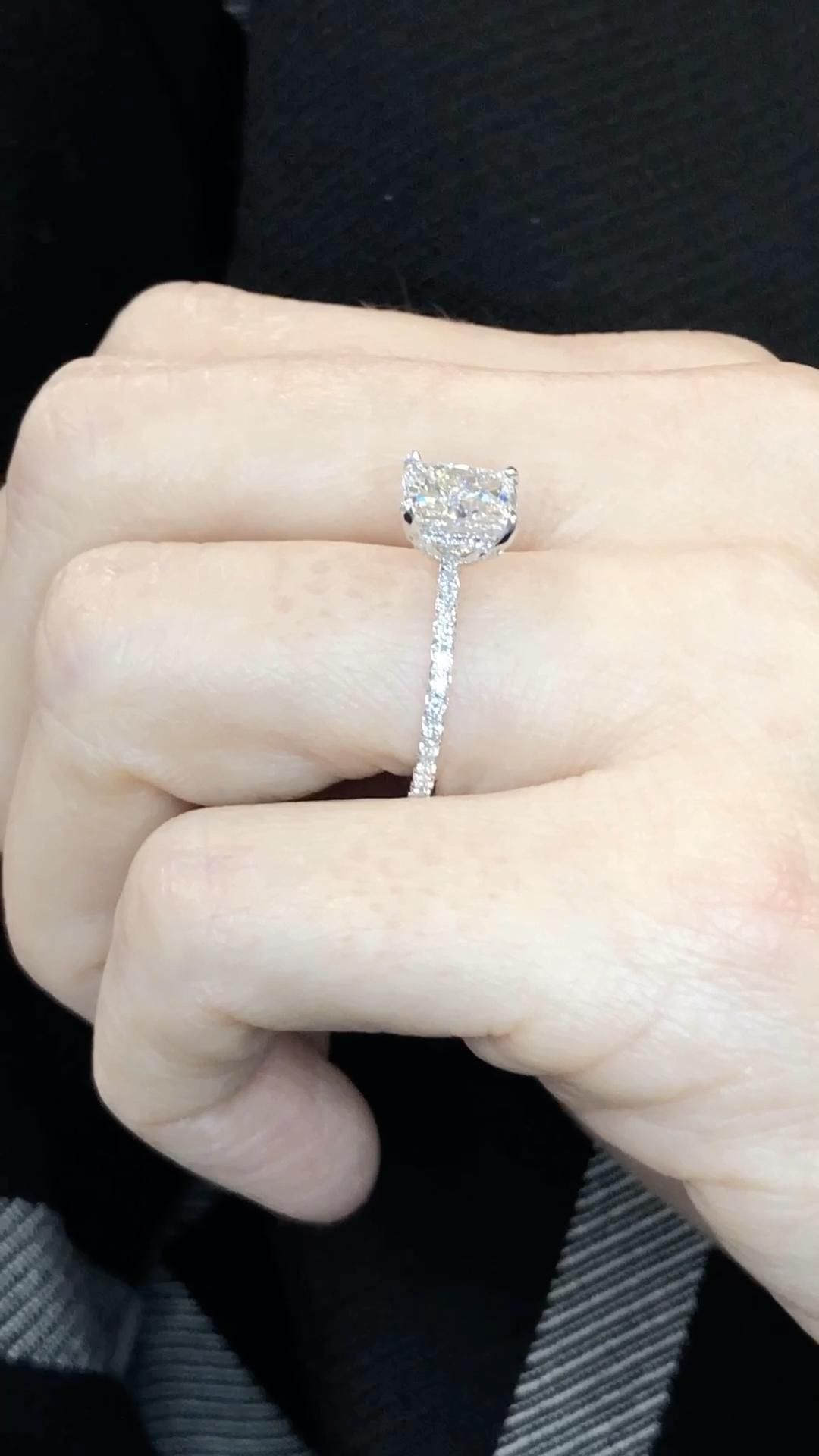 A modern style for a classic romance, this diamond engagement ring features an elongated cushion cut diamond. Delicately designed with a thin, delicate diamond band solitaire style ring.  Design yours with Ascot Diamonds.   #cushionengagementrings #solitaireengagementrings #customengagementring #ascotdiamonds