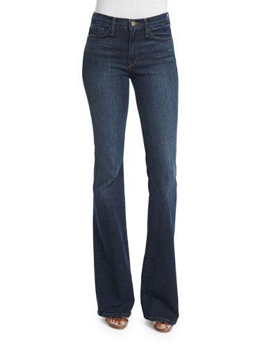 FRAME DENIM Frame Denim Karlie Forever Flare-Leg Jeans, Stewart. #framedenim #cloth #