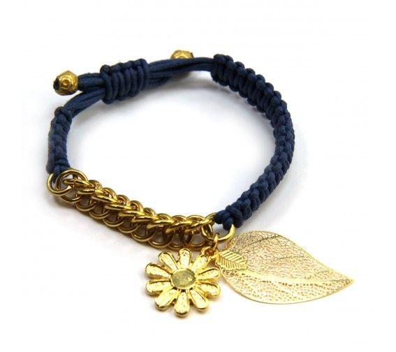 Blue Daisy Leaf Bracelet macrame Pinterest Pulseras, Pulseras