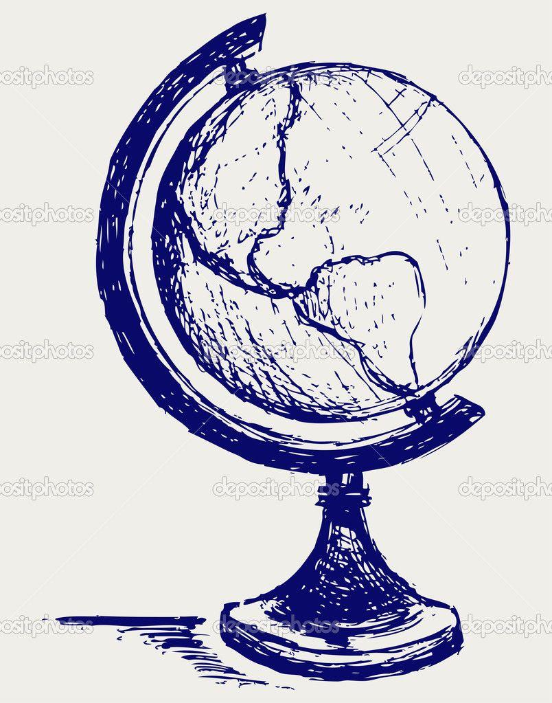 Vintage Globe Line Drawing : Globe sketch imgkid the image kid has it