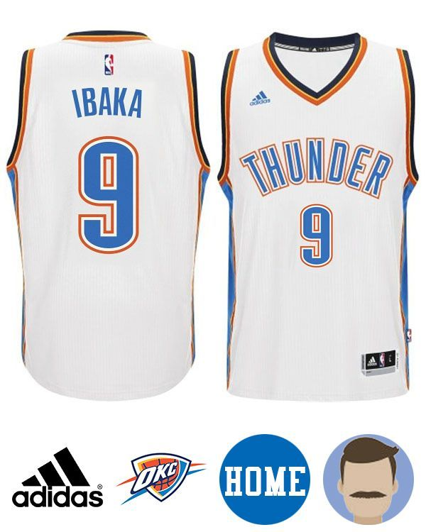 bb937d8c4 Honor your favorite NBA superstar in this Men s Adidas Oklahoma City Thunder   9 Serge Ibaka White New Swingman Home Jersey! The stitched-down team and  ...