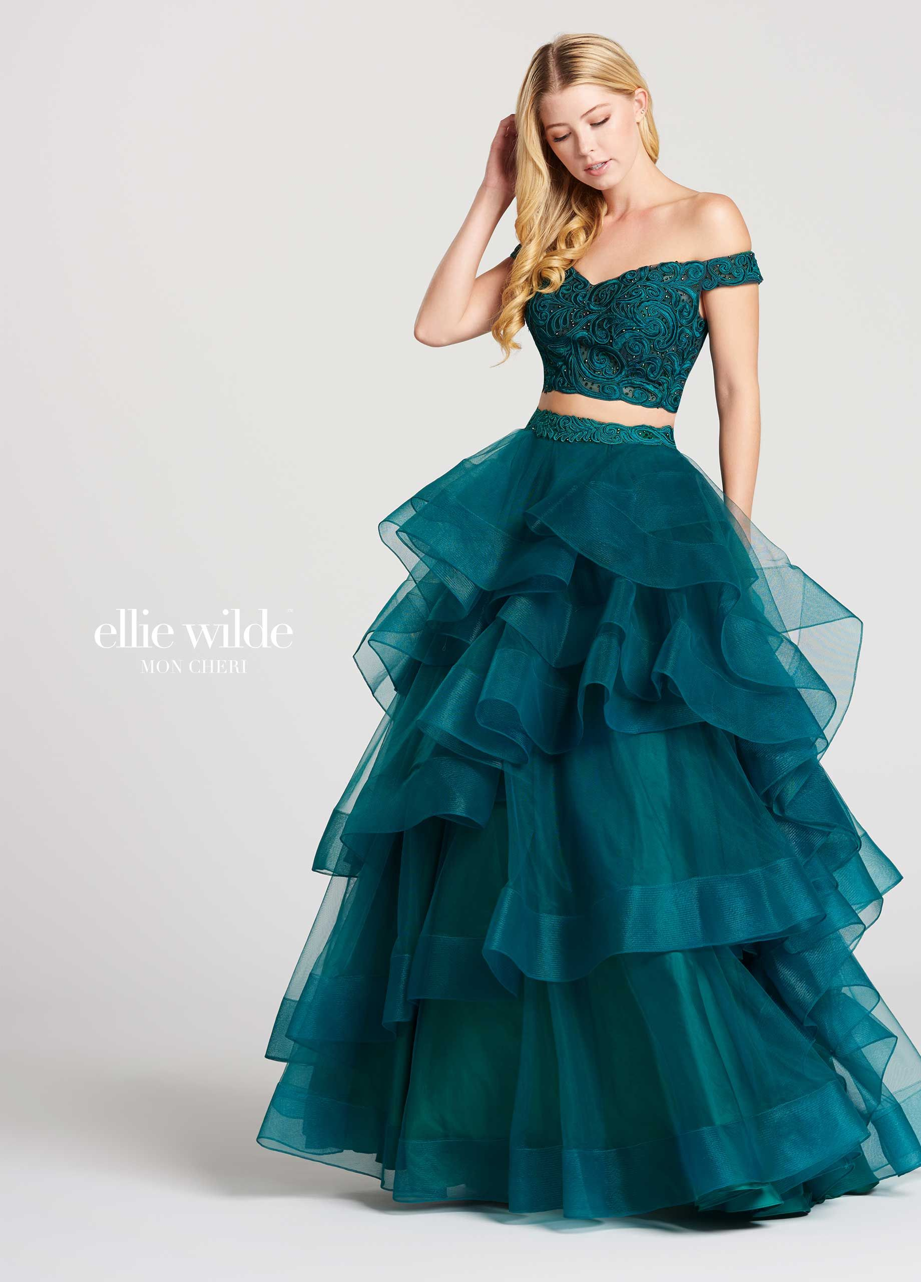 c57ba0dc24b Ellie Wilde EW118040 - Two-piece off-the-shoulder tulle and lace ball gown  with subtle sweetheart neckline. Bodice is covered in lace and has a  scalloped ...
