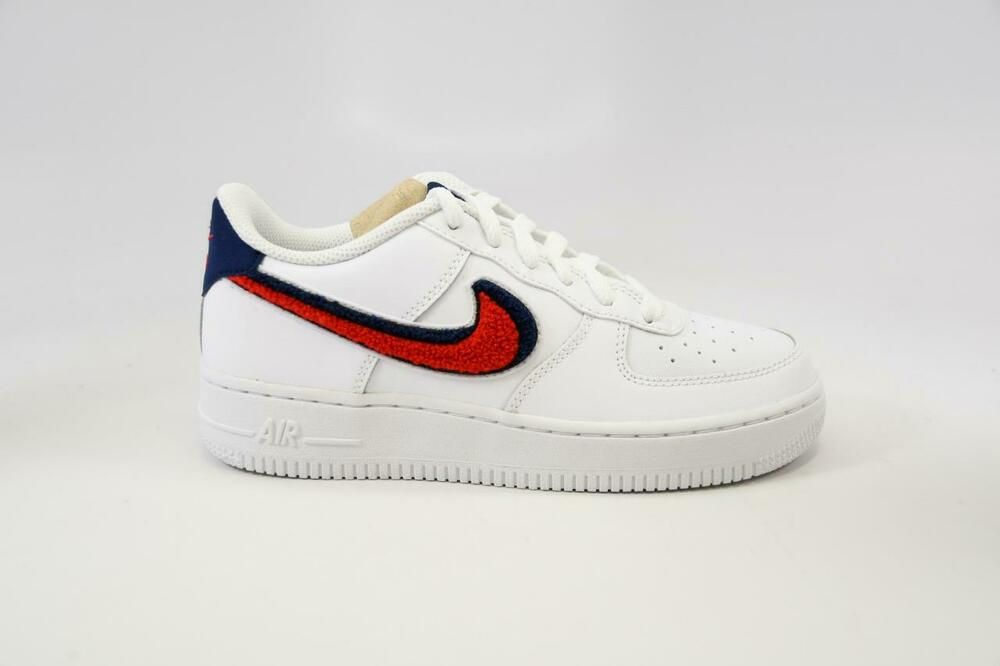 Nike Air Force 1 Lv8 GS Chenille Swoosh White Red Blue Ao3620 101 Youth Size 4