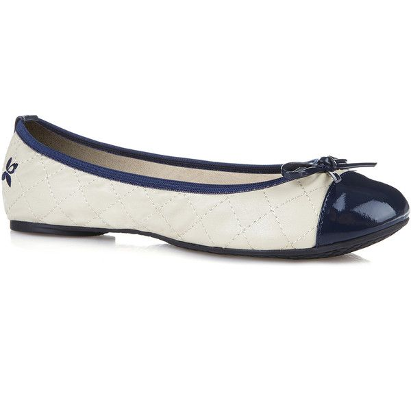 Butterfly Twists Womens Quilted Oliviat Cream Navy - Flats