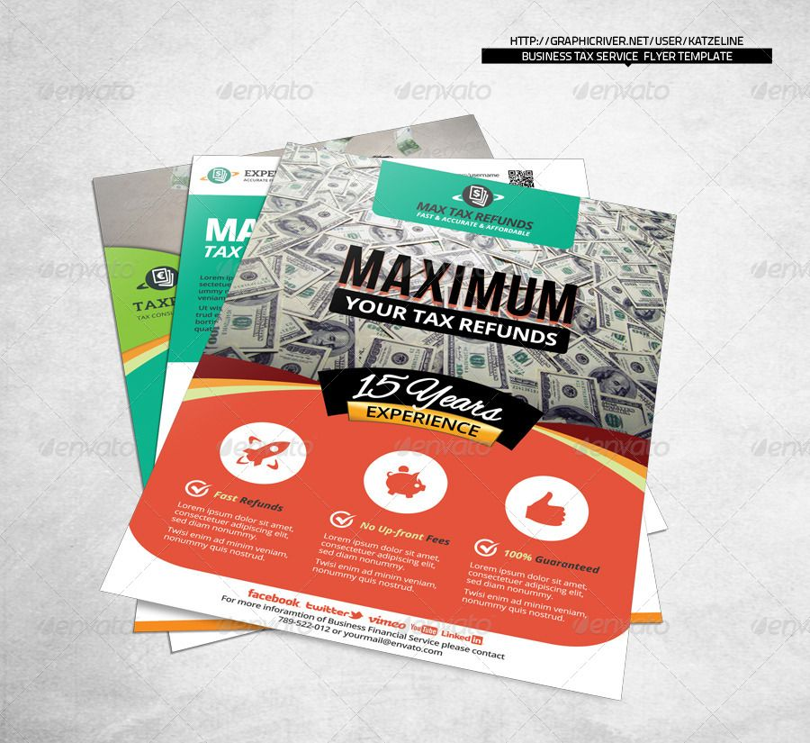 Corporate Tax Refund Financial Service Flyer Template