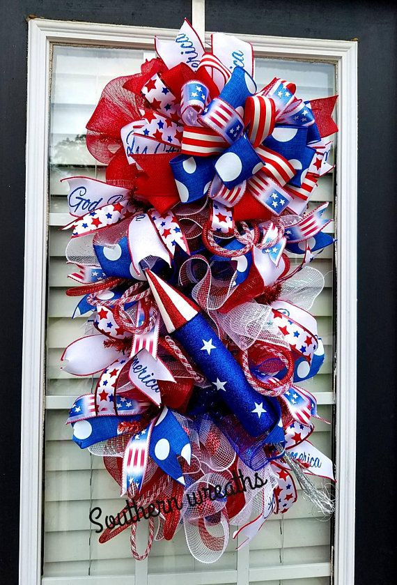 Patriotic Fireworks Door Swag July 4th Front Door Wreath Red White Blue Patriotic Door