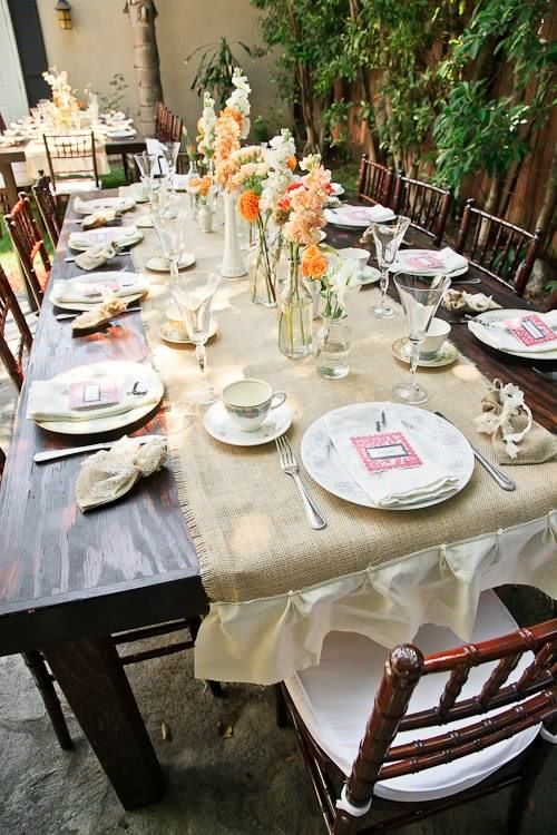 Garden Bridal Shower Table Setting Burlap Runners Vintage China Www Galasbygerry