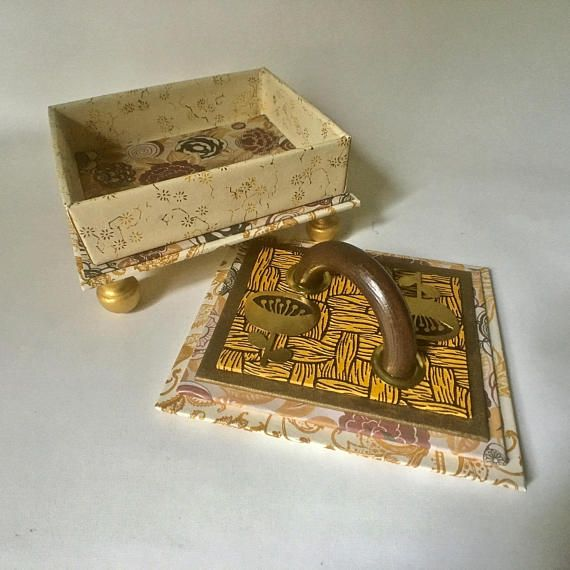 Handmade Box In Gold And Brown For Home Or Office Decor