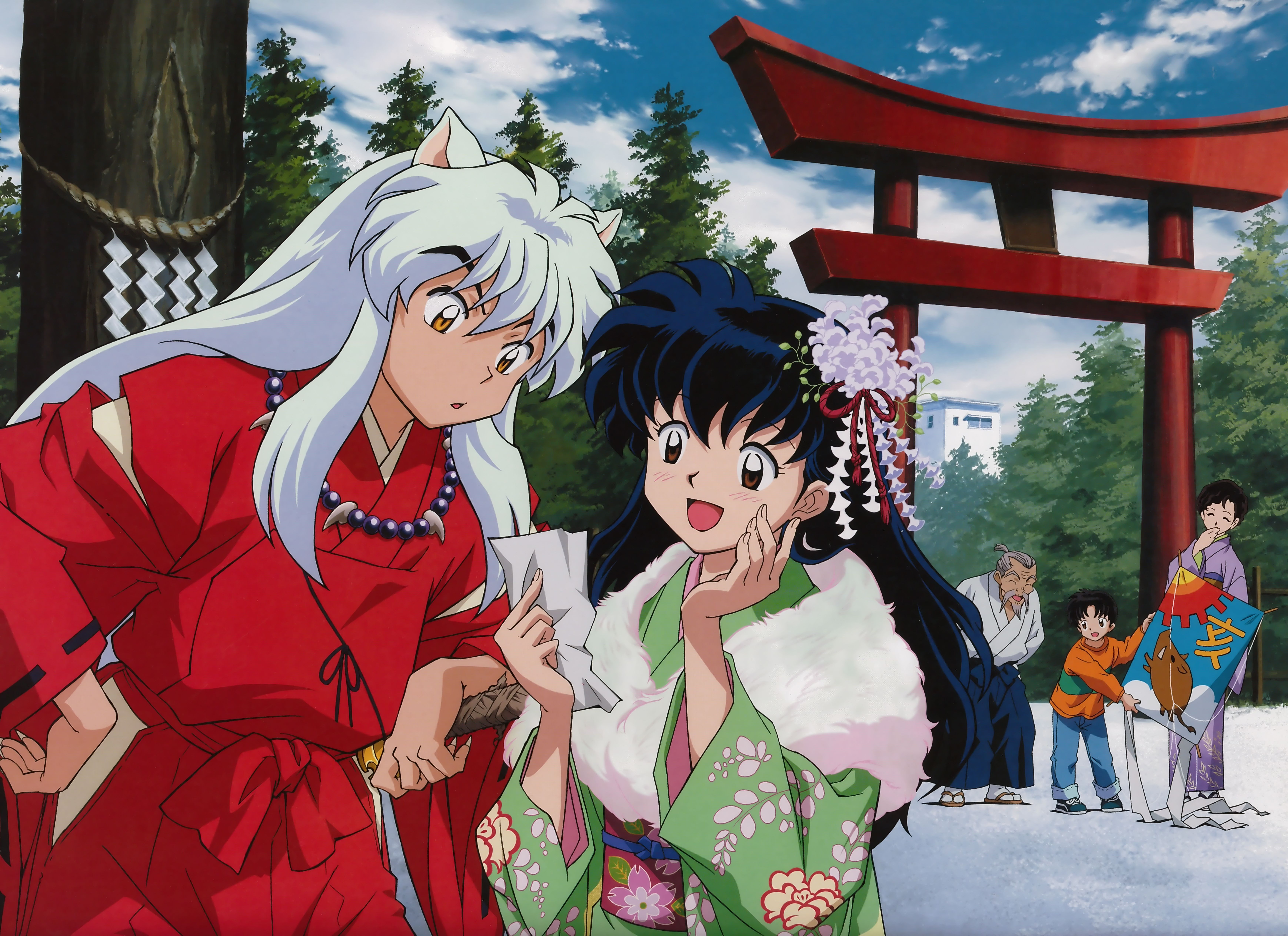 InuYasha and Kagome in modern Tokyo with Kagome's grandfather, brother Sota, and mother - InuYasha Official Artwork