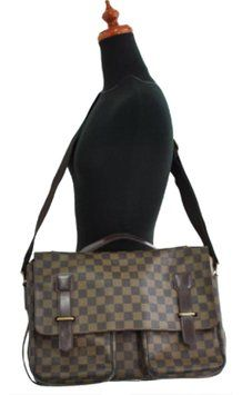 5f3e2f2daa0d Cross Body Business Damier Ebene Leather and Canvas Laptop Bag ...