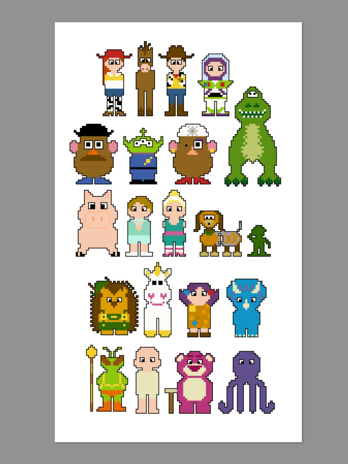 Toy Story 3 Pixel People Character Cross Stitch por