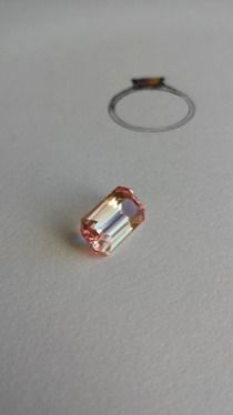 Padparadscha Sapphire ready to set into an engagement ring. Caroline Bassett
