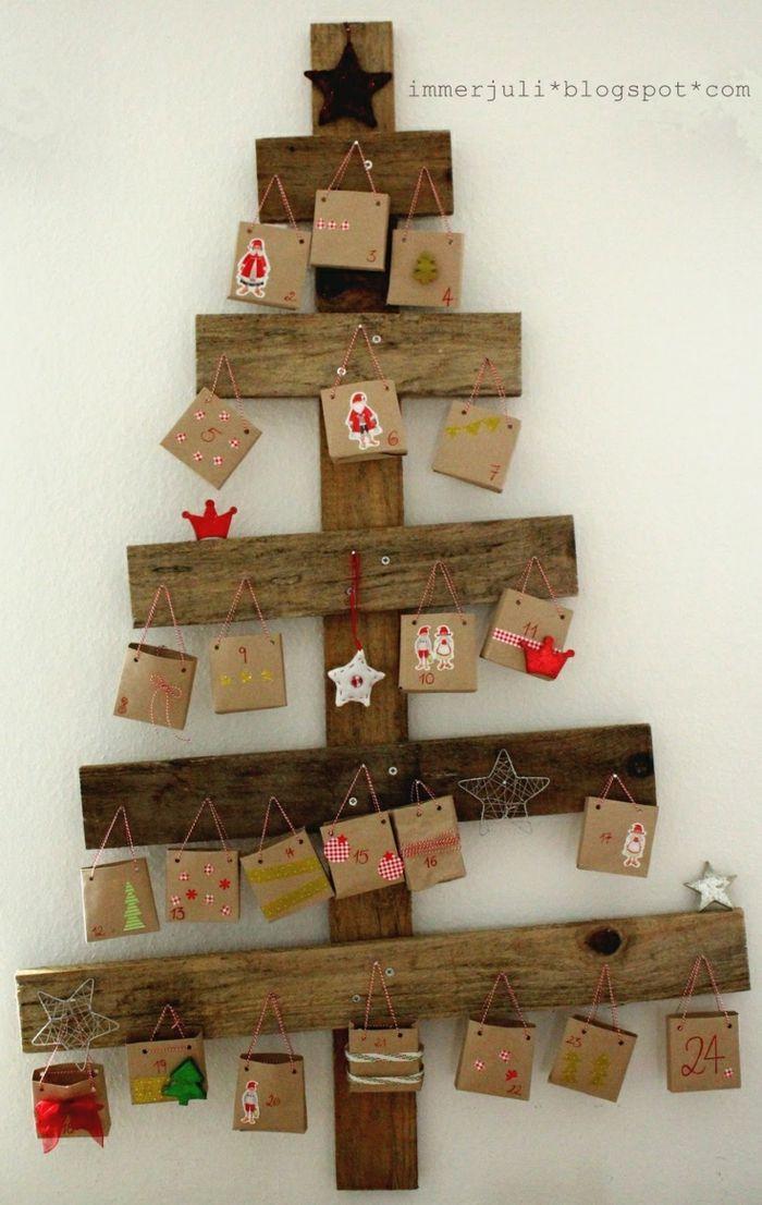 Adventskalender Basteln Holz Tannenbaum Bretter Tüten