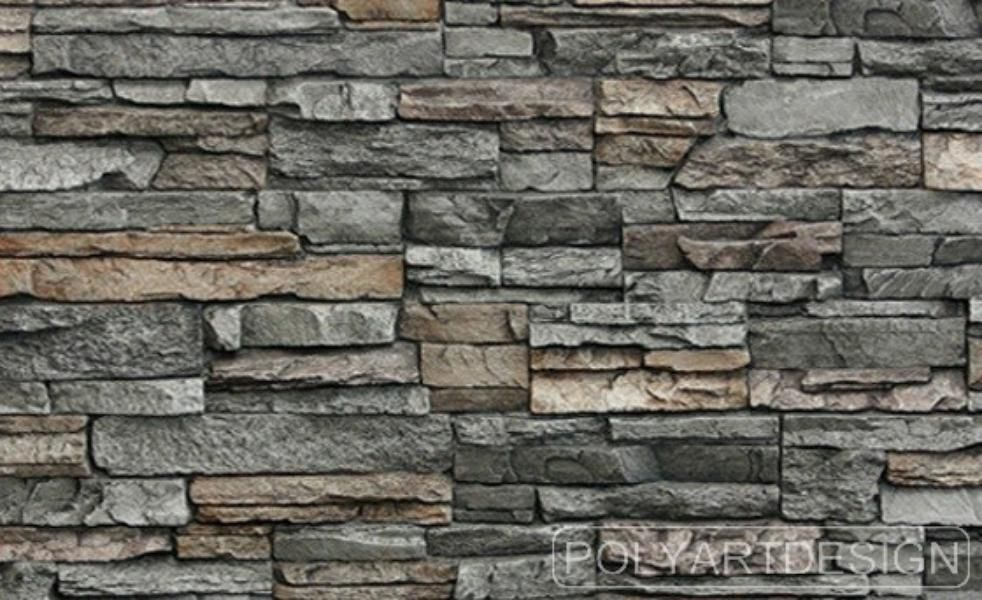 Slender rough cut stone formed into faux panel with - Faux stacked stone interior walls ...