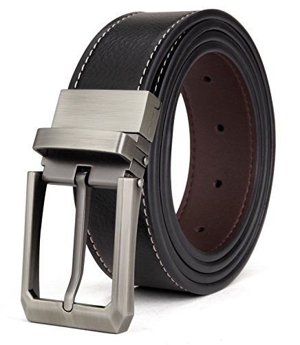 Tonly Monders Men/'s Reversible Belt Dress Leather Belts For Men Rotated Buckle