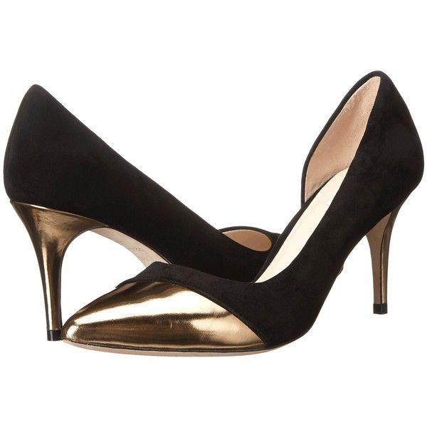 Cole Haan Highline Cap Toe Pump (Black Suede/Gold Specchio) Women's...  ($145) ❤ liked on Polyvore featuring shoes, pumps, black, gold platform  pumps, cole ...