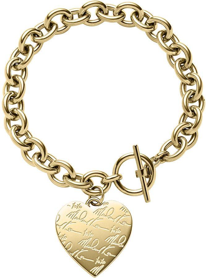 Michael Kors Golden Etched Mk Heart Bracelet On Style