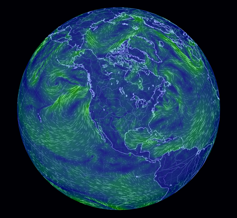 Earth Wind Map An Animated Map Of Global Wind Conditions Rotate